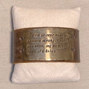 Winnie-the-Pooh quote leather cuff